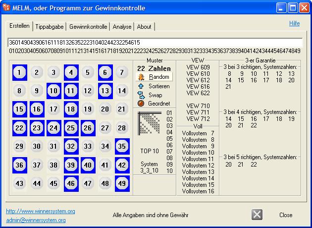 Erstellen von zufälligen 22 Systemzahlen