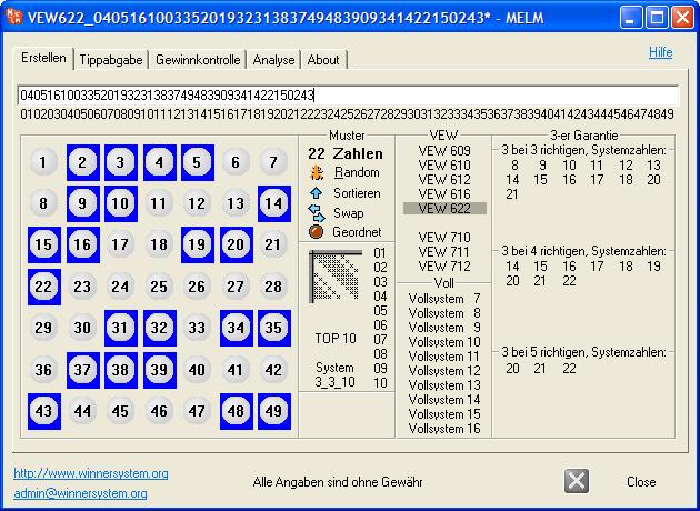 """Erstellen des VEW 622 Lottosystems durch Betätigung der Schaltfläche """"VEW622"""""""